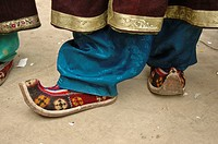 Traditional ladakhi shoes at a festival Lama Yuru, Ladakh, India