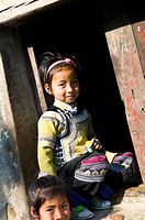 Cute Hani / Akha girls in the YuanYang region of Yunnan, China