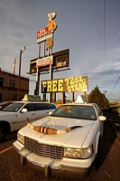 Longhorn limo in the big Texan Ranch, Amarillo, Texas, USA