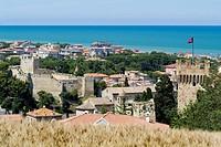 porto san giorgio, veduta della città con la rocca, marche, italy
