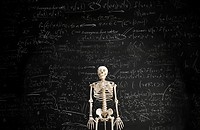 Skeleton in front of blackboard