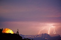 Lightning storm and tent at sloan peak