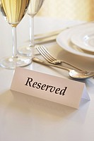Reservation sign on a restaurant table