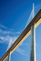France, Midi Pyrenees, Aveyron The Millau Viaduct is the tallest vehicular bridge in the world, with one mast's summit at 343 metres It goes through t...