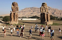 Egypt Upper Nile The Colossi of Memnon Western bank of the Nile river, in front of Luxor old Thebes