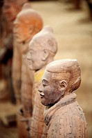 Terracotta warriors from excavations of Emperor Qin's buried army at Qinshihuang's museum. Xian, Shaanxi, China