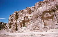 The tombs of Xerxes, Darius I and Darius II in Persepolis, Iran. The palace complex in Iran´s ancient capital of Pesepolis was founded by Darius the G...