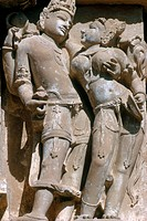 Detail from medieval Hindu and Jain statues in Khajuraho, India. The group of monuments is a UNESCO World Heritage Site.