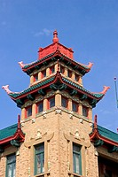 Intricate designs on the On Leong Merchants Association building in Chinatown at Chicago, Illinois. Now home to the Pui Tak Center, the building was c...
