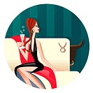 A Taurus woman sipping champagne on a sofa (thumbnail)