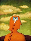 A woman on a ladder looking through a window into her head (thumbnail)
