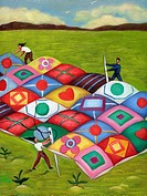 People sewing a large quilt together (thumbnail)