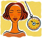 A woman being hypnotized with a pocket watch (thumbnail)