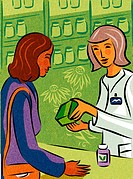A woman buying herbal supplements from a pharmacy