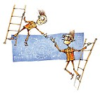 Two business men on ladders reaching for a handshake in agreement