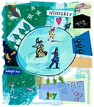 A collage of ice skaters on a rink and winter scenes