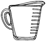 A black and white illustration of a measuring cup