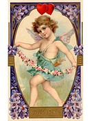 A vintage Loves Token Valentine card with a cherubim holding a flower garland