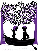 Silhouette of a couple rowing a boat under trees