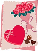 A heart-shaped box of chocolates and a bouquet of roses (thumbnail)