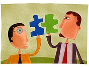 Two businessmen holding puzzle pieces that fit together (thumbnail)