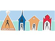 People in a teepee,a church,a synagogue and a temple