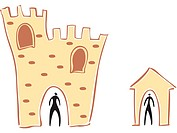 A person in a castle and a person in a house