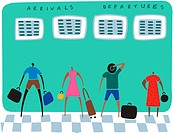 Travelers with their luggage looking at arrivals and departure boards (thumbnail)