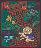 A woman gardening in her front yard on the path (thumbnail)