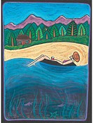 A woman relaxing on an inner tube on the water with a log cabin in the background