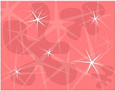 Retro shaped flowers and stars on a pink background