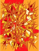 A red, orange, yellow and brown abstract star burst pattern
