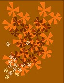 Orange flower burst pattern on a brown background
