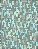 Green and blue geometric pattern on a gray green background