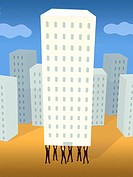 Businessmen holding up a high rise building from underneath (thumbnail)
