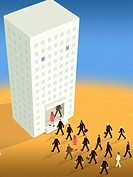 Business people walking into the mouth of a high rise building (thumbnail)