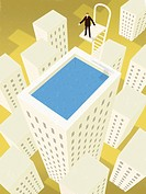 A businessman about to dive into a rooftop swimming pool on top of a building