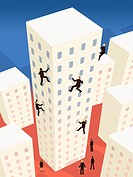 Business people scaling up a building in a city