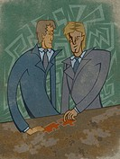 Two businessmen putting a puzzle together (thumbnail)