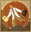 A doctor running on a wheel with a briefcase and folders in his hands
