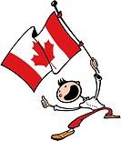 A happy man waving a Canadian flag