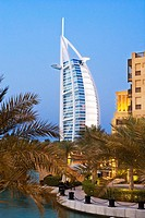 Souk Madinat Jumeirah and Burj Al Arab in background, Dubai, United Arab Emirates