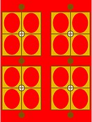 A red, brown and yellow retro ovals and rectangles pattern