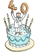A doctor on a birthday cake holding up the number 40