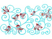 Whimsical drawing of birds and blue swirls