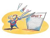 A businessman cutting the budget