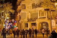 Mila House (aka La Pedrera) during Christmas time, Passeig de Gracia, Barcelona. Catalonia, Spain