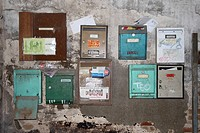 Old mailboxes. Barcelona, Catalonia, Spain