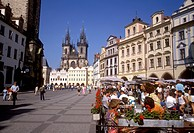 Prague _ Cafes and Tyn Church in the Old Town Square