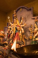 Statue of goddess Durga in a temple, Kolkata, West Bengal, India